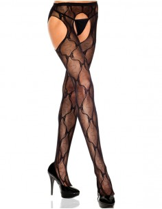 Tights With Open Crotch And Bow Pattern - Black