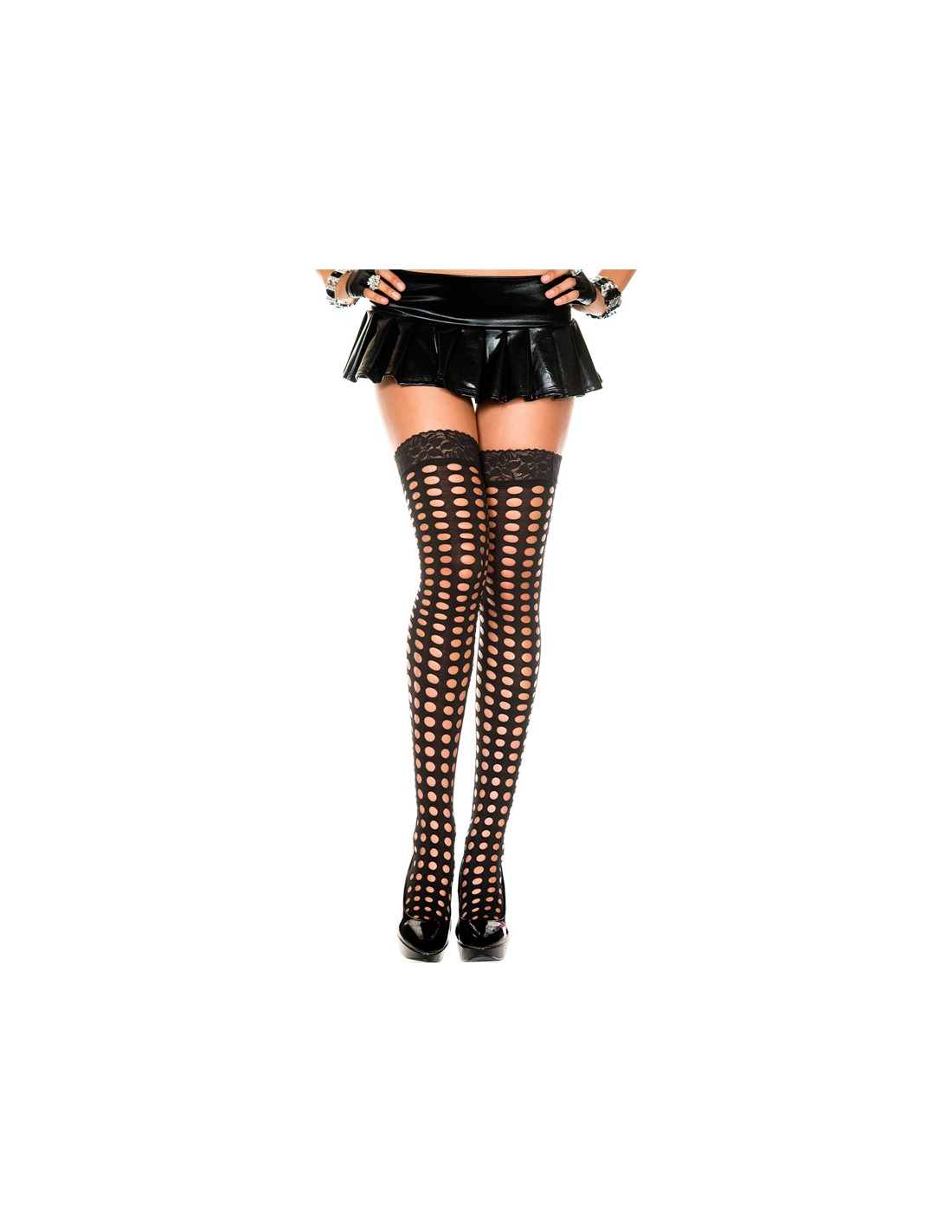 Stockings With Round Openings And Lace Top - Black